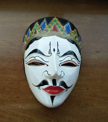 Vintage wooden mask hanging wall plaque Asian mask