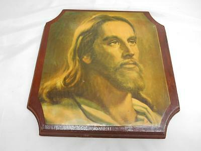 Old Vtg Religious JESUS CHRIST Decoupage Print on Wood Wall Plaque decor