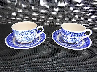 Old Vtg Royal China WILLOW WARE CUP & SAUCER Set 2 Tableware
