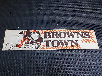 Old Vtg CLEVELAND BROWNS TOWN BUMPER STICKER Brawnie NFL Football  UNUSED