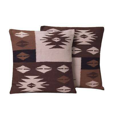 Cushion Covers Alpaca Blend Pair Brown Woven Starlight On Earth Novica Peru