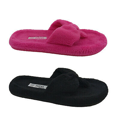 Ladies Slippers Bliss Teri Summer Slipper Thongs Size S-XL Purple Pink or Black