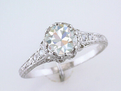 Vintage Engagement Ring GIA Certified 1.20ct Diamond Platinum Deco Near Mint