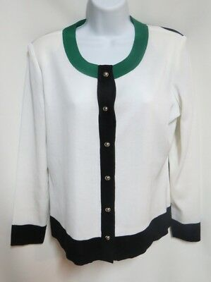 Exclusively Misook Petite White Black Green Color Block Acrylic Knit Jacket L