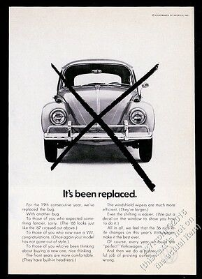 1968 VW Volkswagen Beetle classic car photo It's Been Replaced 7x5 print ad