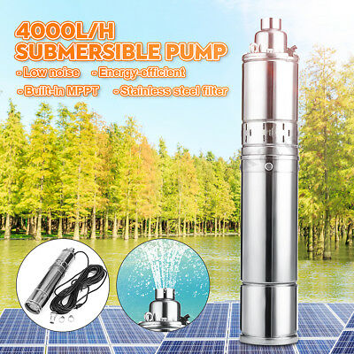 1HP 220V 4000L/H Submersible Bore Deep Well Water Pump 75M High Lift w/18M Cable