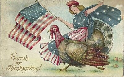 Vintage 06-15 PC- Embossed- Patriotic   Thanksgiving- Turkey- Lady Liberty- Flag