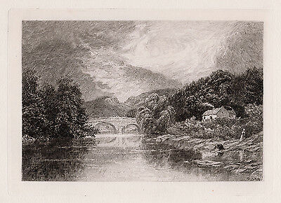 "Original 1800s DAVID LAW Etching ""River Teith, Callander View"" SIGNED Framed COA"