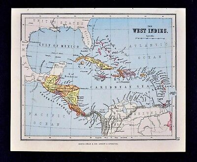 1889 Hughes Map  West Indies Caribbean Sea Cuba Jamaica Bahama Antillies Islands
