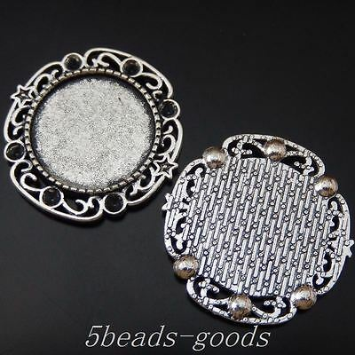 10 pcs Vintage Silver Round Blank Setting Tray Lace Floral Pendants Inner 20mm