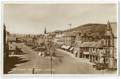 Scotland Moffat High Street From South Real Photo Vintage Postcard 28.11