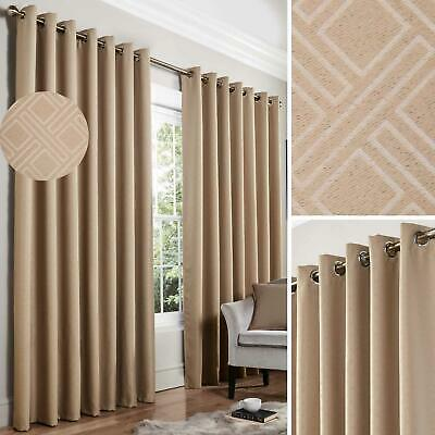 Beige Blackout Curtains Diamond Thermal Eyelet Ready Made Ring Top Curtain Pairs