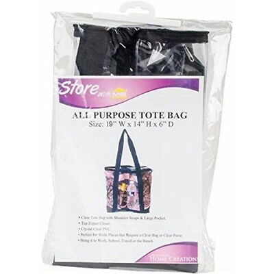 "Innovative Home Creations All-purpose Clear Tote Bag-black 19""x14""x6"""