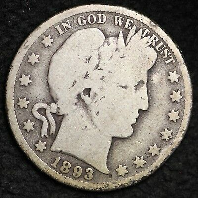 1893-S Barber Half Dollar CHOICE G+ FREE SHIPPING E308 TET