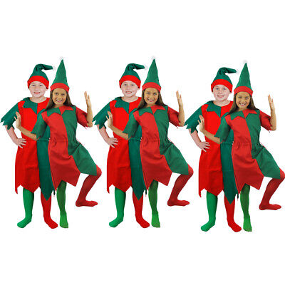 Packs Of Kids Elf Costume Christmas Santas Helper Boys Girls Fancy Dress Lot