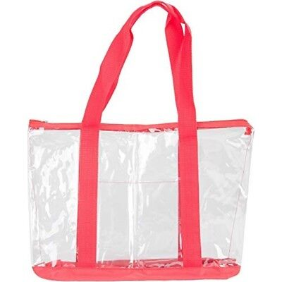"Innovative Home Creations All-purpose Clear Tote Bag-red 19""x14""x6"""
