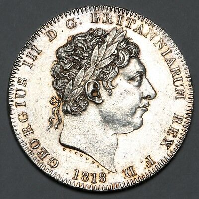 1818 King George Iii Great Britain Silver Crown Coin