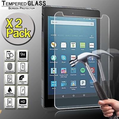 """2 Pack Tablet Tempered Glass Screen Protector For Amazon Fire HD 8"""" 2018 alexa"""