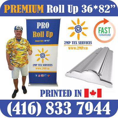 "PREMIUM 36"" Trade Show Retractable Roll Up Banner Stand Pop Up Display + PRINT"
