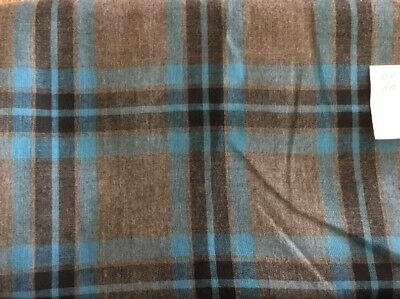 "Vintage Blue/Gray Plaid Wool Blend Fabric 60x56"" (1.5 Yds)"