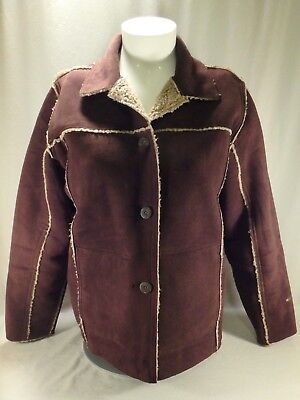 Women Woolrich Chocolate Brown Faux Suede Sherpa Lined Button Down Coat Jacket L