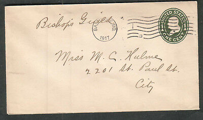 Bishops Guild 1917 1 cent Franklin cover to Miss M C Hulme St Paul St Baltimore