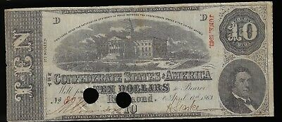 1863 Confederate States of America $10 Dollar Bill Civil War Currency Note!