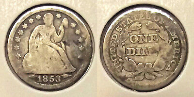 """1853 (w/ ARROWS) """"SEATED LIBERTY DIME"""" 10c SILVER COIN"""
