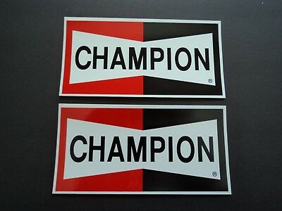 LOT of two CHAMPION spark plugs NASCAR NHRA contingency racing decals stickers