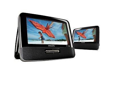 """Philips Portable 7"""" Dual-LCD Screens Car DVD Player PD7012/37 movie CD Display"""