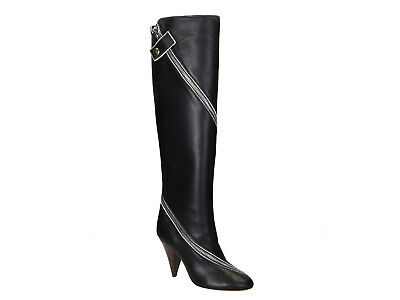 2a977e104ad2 Céline knee high boots in black soft leather zip triangle heel Size US 7 -  EU