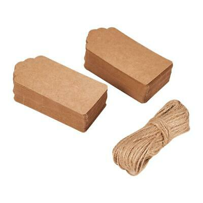 Pack 50 x Brown 9.5 x 4.5cm Rectangle Card Gift Tags With Twine Y13270