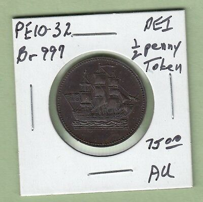 Price Edward Island  Ships, Colonies & Commerce 1/2 Penny token - AU