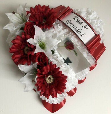 Heart Shaped Silk Artificial Funeral Flowers Wreath Memorial Grave Tribute Dad