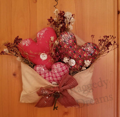 Primitive Hearts - Hanging Red Valentine Heart Envelope - Dried Flowers #8