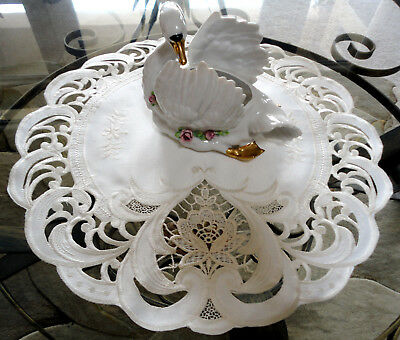 """Doily 15"""" Vintage Romance Sweetheart  Lace Table Topper Round Ivory"""