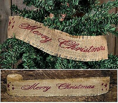 New Primitive Rustic Farmhouse NATURAL BURLAP MERRY CHRISTMAS Ribbon Tree Trim