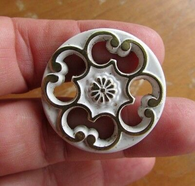 4 NOS Vtg French Provincial Gold/White Filigree Cabinet Knob Drawer Pull Ajax