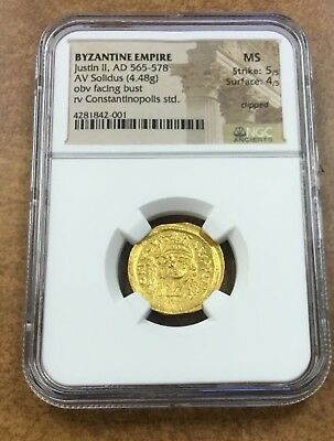 "BYZANTINE EMPIRE Gold Solidus AD 565 -578  ""JUSTIN II""  NGC MS  5/5 4/5"
