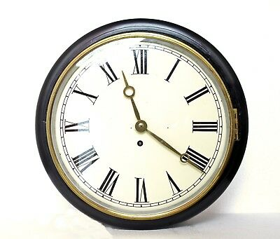 """Antique Fusee Wall Clock 12"""" Dial/ 14"""" Case School, Railway, Serviced Works Well"""