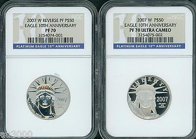 2007-W 10-th ANNIVERSARY $50 PLATINUM SET NGC PR70 PF70 PROOF & REVERSE 2-COINS