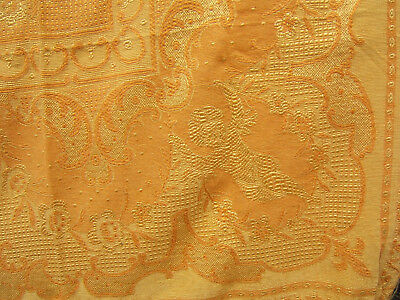 Antique Bed-Cover Bedspread Quilt Winged Cherubs. Yellow Gold With Fringes
