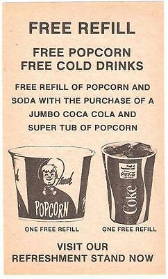 Vintage 1970's Unused Free Refill Coca-Cola Coupon From a Drive - In Theater