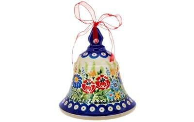Lidia's Polish Pottery Stoneware Large Bell Collectible Wild Flower H206119