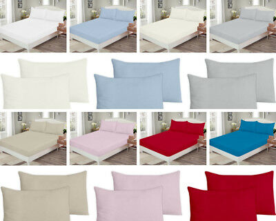 """100% Brushed Cotton Flannelette Extra Deep Fitted Sheet 12"""" Warm Soft Bed Sheets"""