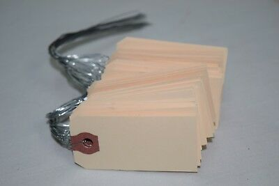 """50 Shipping Tag With Wire Attachment 2 3/4"""" x 1 3/8"""" Manila Reinforced Hole 13Pt"""