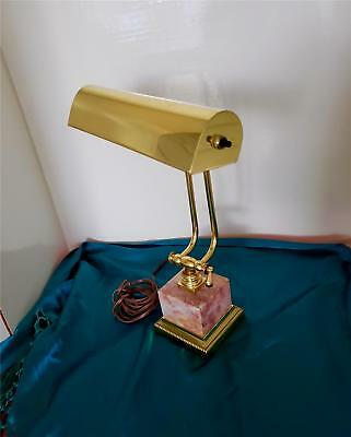 Mid Century Maitland-Smith Style Bankers Desk Lamp Pink Marble & Brass Good Con.