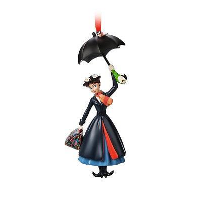 Disney Store MARY POPPINS Christmas Tree Ornament w/ Umbrella & Print Carpetbag