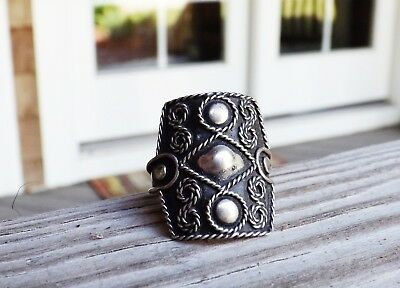 Old Mexico Sterling Silver 925 Taxco Aztec Modern Shield Biker Mens Size 10 Ring