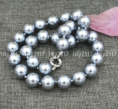 """Beautiful Natural 10mm Silver Gray South Sea Shell Pearl beads Necklace 18"""" AAA"""